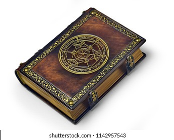 Leather book with gilded transmutation circle in center of the front cover, attributed to a German alchemist from the 17th century. Captured isolated while laying on the table from the right side.