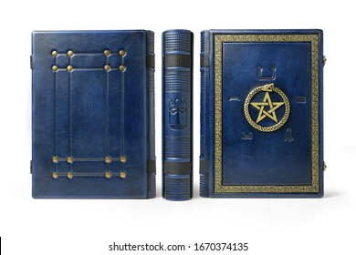 Leather book with magical symbols all over the cover. Gilded ouroboros and pentagram in the center, surrounded with old Egyptian symbols of the five elements.