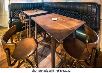 leather booth in a modern restaurant interior