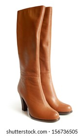 Leather boots on a white background