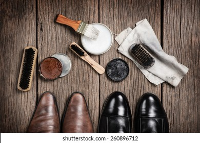 leather boots with shoe maintenance set