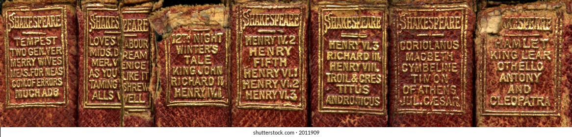 Leather bound books of Shakespeare's plays