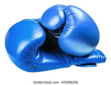 leather boxing gloves blue isolated on white background