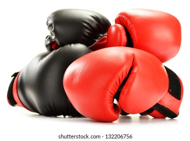 Leather boxing gloves isolated on white. Sport accessories