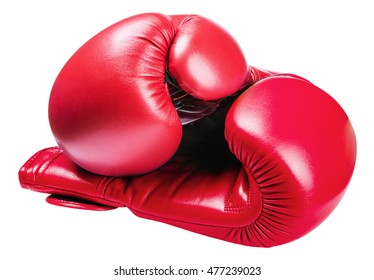 leather boxing gloves red isolated on white background