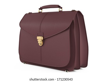 Leather briefcase isolated