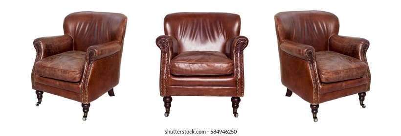 Leather brown chair isolated on white background. View from different sides - front and two side views