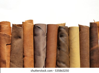 leather brown roll isolated on white background