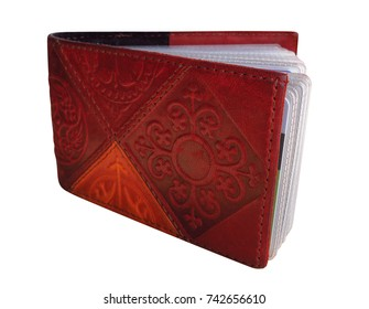 Leather business card holder with Kazakh national ornament isolated on white. Clipping Path included.