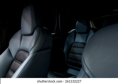Leather car seats. Interior detail.