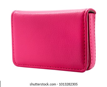 Leather card holder isolated on white background. Template of pink leather wallets for your design. ( Clipping path )