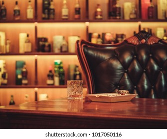 Leather chair in luxury interrior.