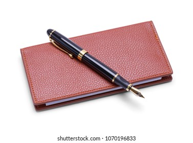 Leather Checkbook with Fountain Pen Isolated on White Background.