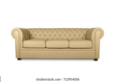 leather chester beige sofa isolated on white