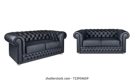leather chester black sofa isolated on white