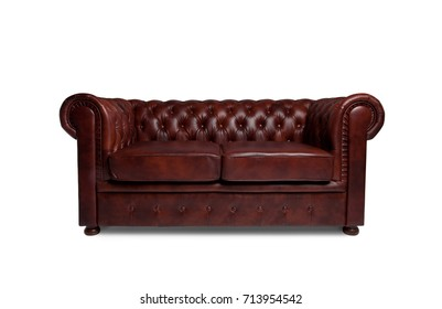 leather chester brown sofa isolated on white