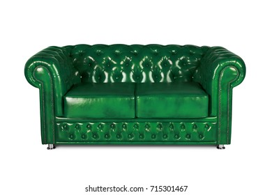 leather chester green sofa isolated on white