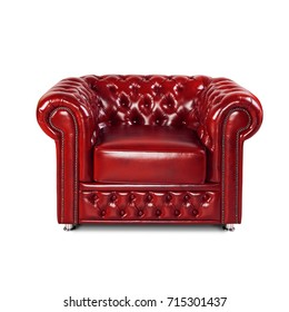 leather chester red sofa isolated on white