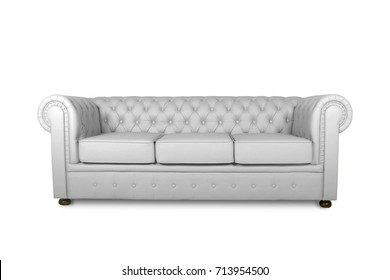 leather chester white sofa isolated on white