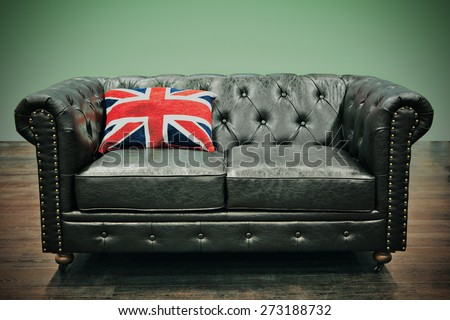 Leather Chesterfield Couch Union Jack Cushion Stock Photo Edit Now