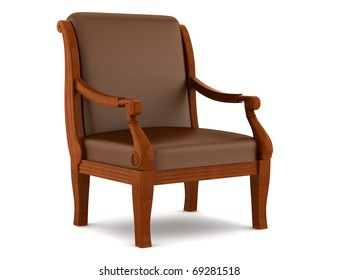 leather classic armchair isolated on white background