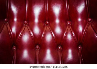 Leather cloth sewing with buttons intending for cushioned furniture texture background. Close up of an antique sofa. Graphic resource for a vintage design.