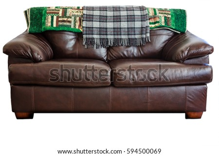 Leather couch with blanks on pure white background