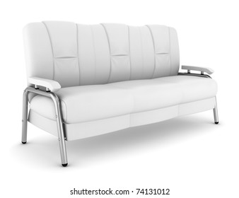 leather couch isolated on white background with clipping path
