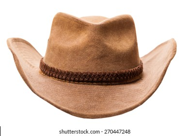 leather cowboy hat isolated on a white background