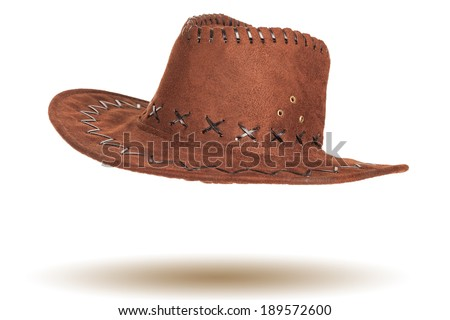 57a5443909d3d Leather Cowboy Hat Isolated On White Stock Photo (Edit Now ...