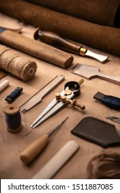 Leather craft tools on a cutting mat, workplace