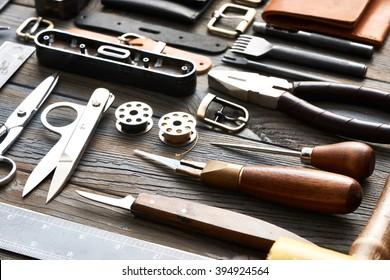 Leather crafting DIY tools still life