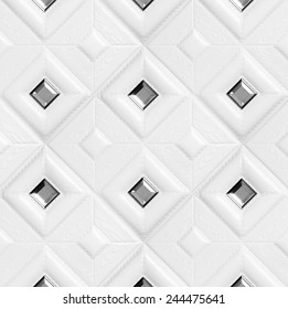Leather decorative tile with volume drawing and inserts of a mirror, nobody.