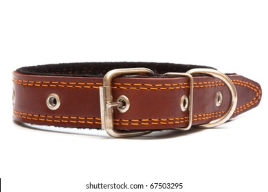 Leather dog collar on a white background