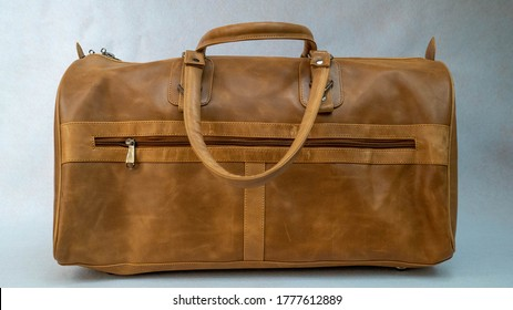 leather duffle bag product photography