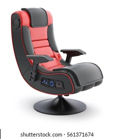 Leather ergonomic gaming chair on white background - 3D illustration