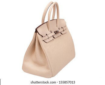 Leather female handbag, accessory on a white background nobody.