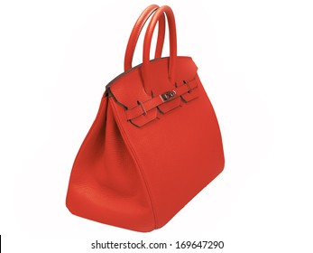 Leather female red handbag, accessory on a white background nobody.