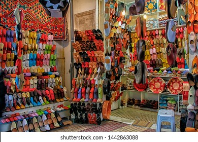 Leather goods store from the souk / bazaar market at Medina of Tunis (Tunisia)