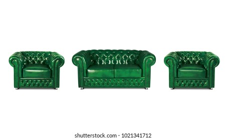leather green sofa