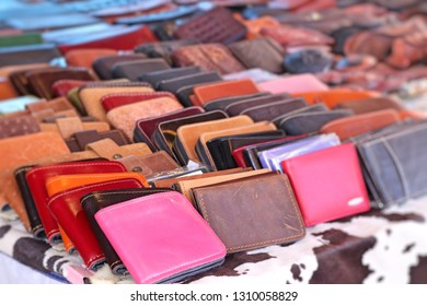 leather handbags at the market