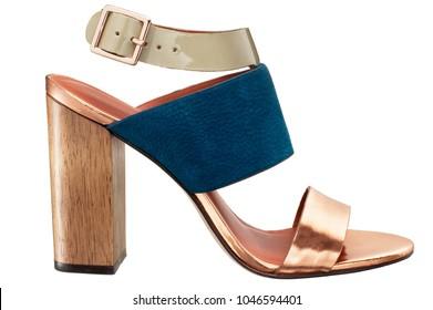leather high heel pump shoe