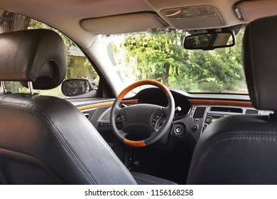 Leather interior of the car. View of the interior of a modern automobile showing the dashboard