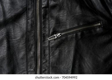 Leather jacket, pocket and zipper of leather jacket