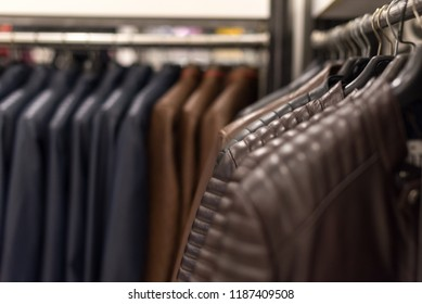 Leather jackets on the hangers at the store