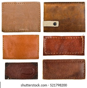 Leather jeans labels, leather tags.isolated on white background