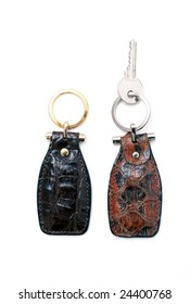 Leather key chain on white background