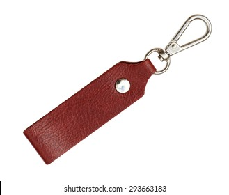 Leather Keychain with clip lock for Key Isolated on White Background