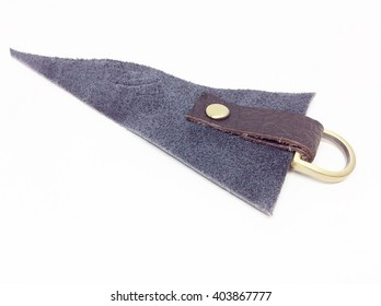 Leather keychain on a white background.