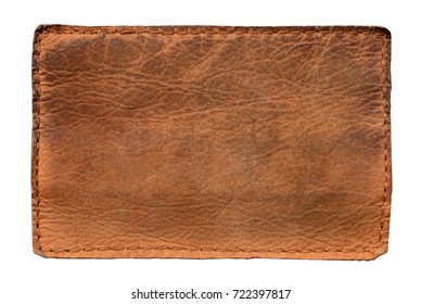 Leather label on white background